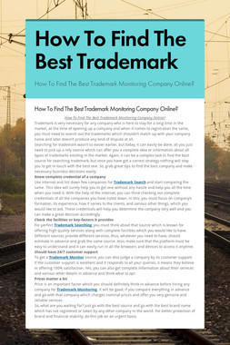 How To Find The Best Trademark
