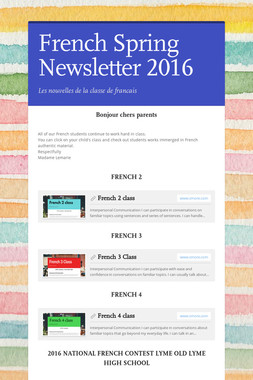 French Spring Newsletter 2016