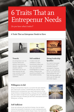 6 Traits That an Entrepenur Needs