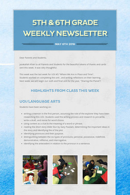 5th & 6th Grade Weekly Newsletter