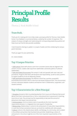 Principal Profile Results