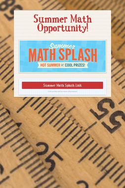 Summer Math Opportunity!