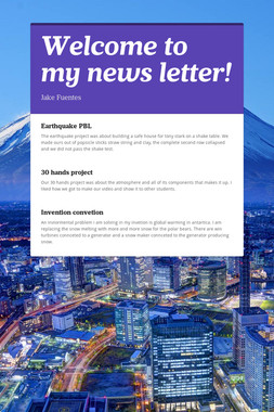 Welcome to my news letter!