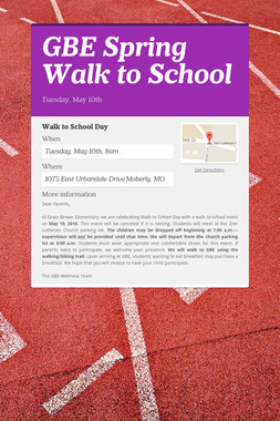 GBE Spring Walk to School