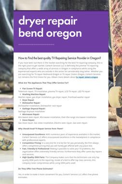 dryer repair bend oregon
