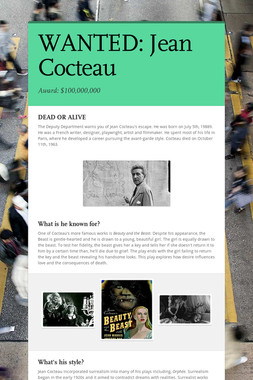 WANTED: Jean Cocteau