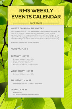 RMS Weekly Events Calendar
