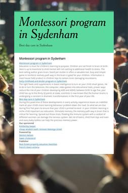 Montessori program in Sydenham