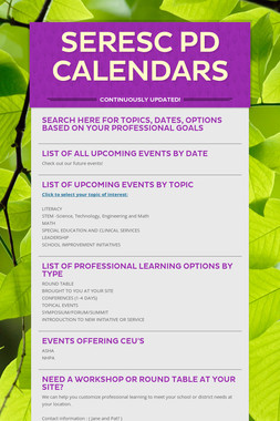 SERESC PD Calendars