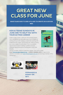 Great new class for JUNE