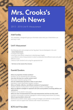 Mrs. Crooks's Math News
