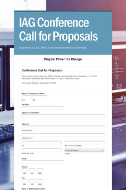 IAG Conference Call for Proposals