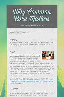 Why Common Core Matters