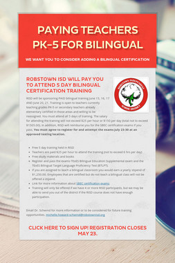 Paying Teachers PK-5 for Bilingual