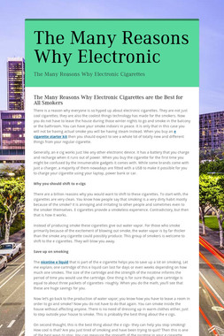 The Many Reasons Why Electronic