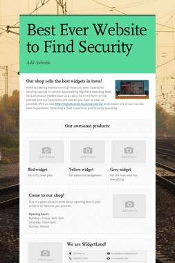 Best Ever Website to Find Security