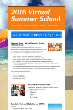 2016 Virtual Summer School