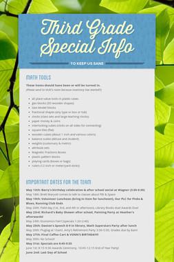 Third Grade Special Info