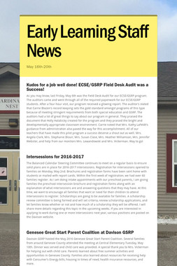 Early Learning Staff News