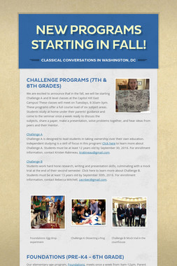 New Programs Starting in Fall!