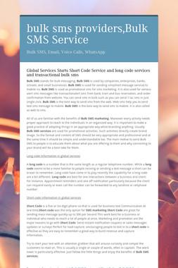 bulk sms providers,Bulk SMS Service