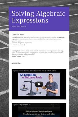Solving Algebraic Expressions