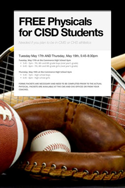 FREE Physicals for CISD Students