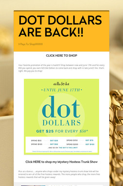 DOT DOLLARS ARE BACK!!
