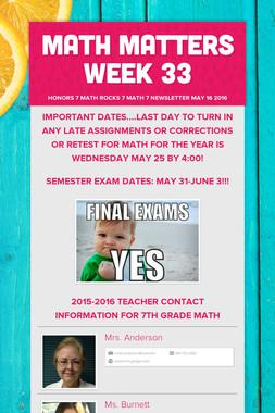 Math Matters Week 33