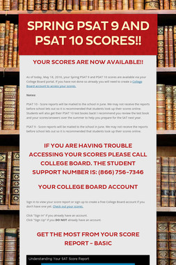 Spring PSAT 9 and PSAT 10 Scores!!