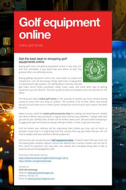 Golf equipment online