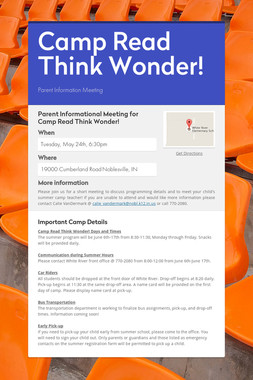 Camp Read Think Wonder!