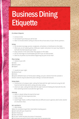 Business Dining Etiquette