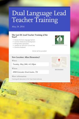 Dual Language Lead Teacher Training