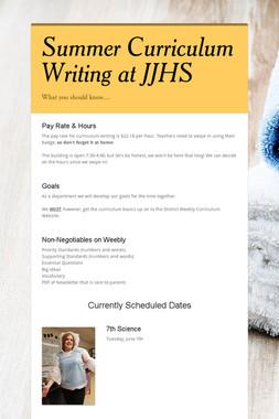 Summer Curriculum Writing at JJHS