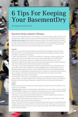 6 Tips For Keeping Your BasementDry