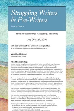 Struggling Writers & Pre-Writers