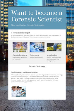 Want to become a Forensic Scientist