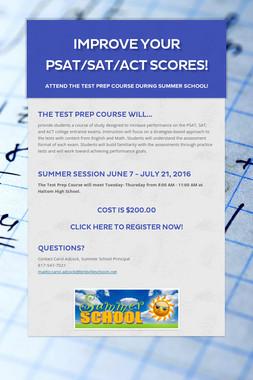 Improve Your PSAT/SAT/ACT Scores!