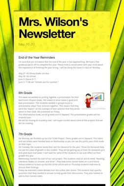 Mrs. Wilson's Newsletter