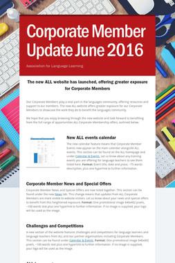 Corporate Member Update June 2016