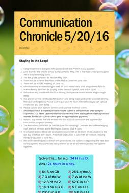 Communication Chronicle 5/20/16