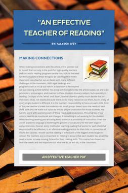 """""""An Effective Teacher of Reading"""""""