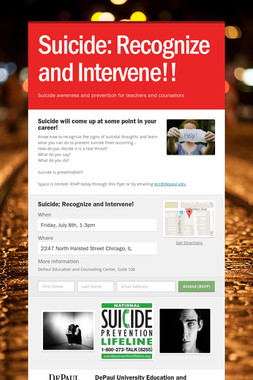 Suicide: Recognize and Intervene!!