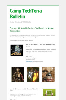 Camp TechTerra Bulletin