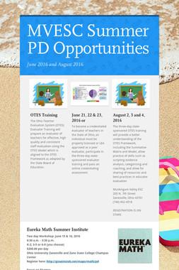 MVESC Summer PD Opportunities