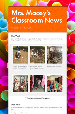 Mrs. Macey's Classroom News