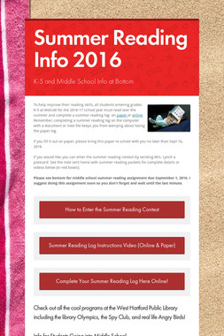 Summer Reading Info 2016