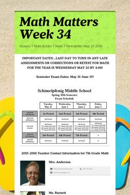 Math Matters Week 34