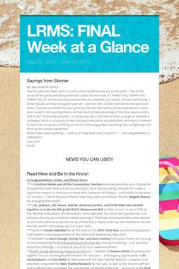 LRMS:  FINAL Week at a Glance